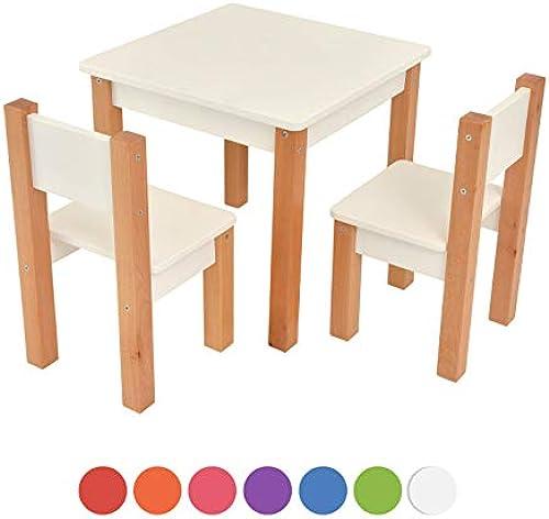 Kindertisch mit 2 stühle - 3 tlg. Set  Sitzgruppe für Kinder - aus Buche und MDF Holz - Tisch + 2 Stühle Kinderm l für Jungen & mädchen Kindersitzgruppe (Weiß Kindertisch mit 2 stühle)