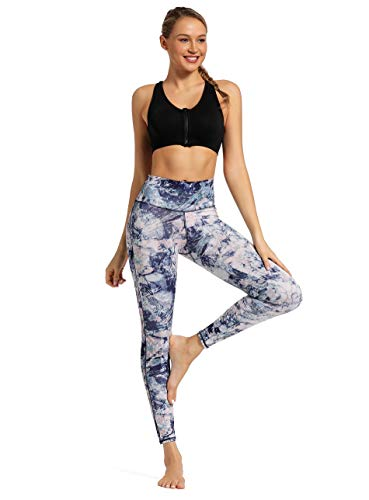 Women's Tummy Control Printed Yoga Pants High Waist with Pockets Naked Feeling Workout Leggings Blue feather1-L
