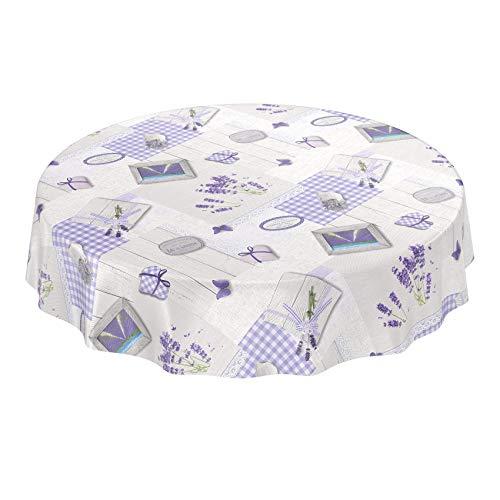 Nappe lavable Anro - Toile cirée - Nappe de table en toile cirée - Cœurs de lavande - Provence - Violet gris - Taille au choix, Toile cirée, Lavendel Herzen Provance Violett Grau, Rund 140cm