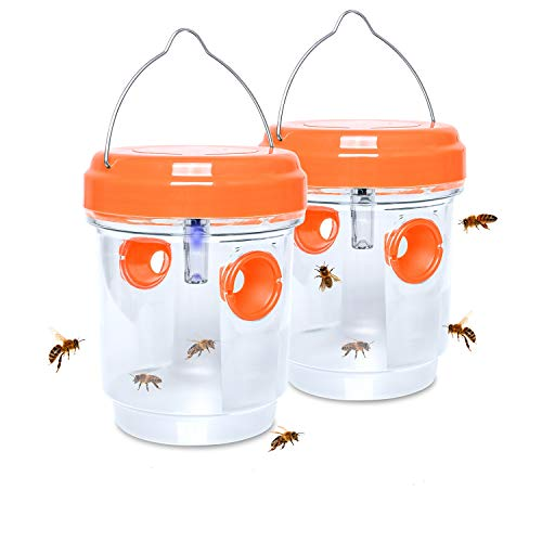 Stingmon 2 Pack Solar Powered Wasp Trap Outdoor, Effective Wasp Killer for Trapping Hornets Bugs, Reusable Insects Killer Bee Catcher