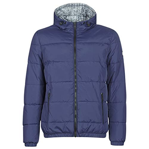 TOMMY HILFIGER Reversible Hooded Bomber Abrigos Hommes Marino/Reversible/Chevron/Gris - M - Plumas