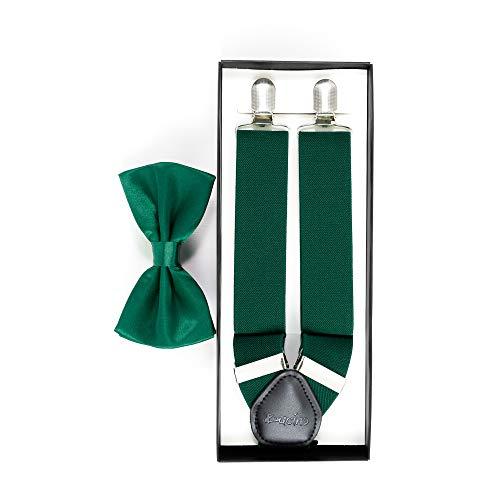 DUCINO Hosenträger für Herren in stylischer Y-Form im Set mit der passenden Fliege in vielen klassischen Farben, Dunkelgrün, Einheitsgröße