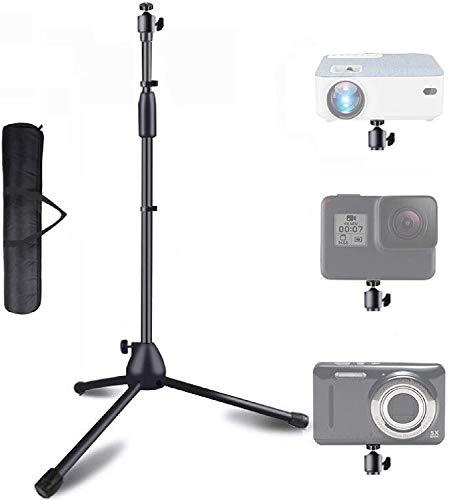 Tragbares Stativ, höhenverstellbar von 81,3cm bis 144,8cm, 360° drehbare Kugel, Stativ für Webcam, kleine Kamera, Tablett, Projektor, GoPro