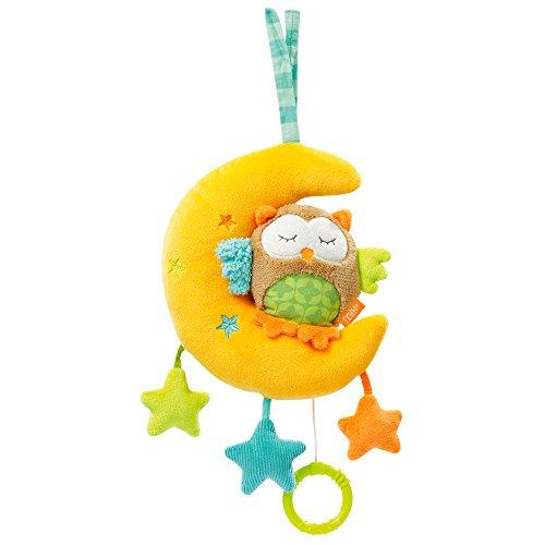 Fehn 071061 Spieluhr Eule im Mond – Aufzieh-Spieluhr mit herausnehmbarem Spielwerk - Spielt sanfte Einschlafmelodie für Babys und Kleinkinder ab 0+ Monaten