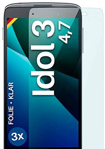 moex Klare Schutzfolie kompatibel mit Alcatel OneTouch Idol 3 4.7 - Bildschirmfolie kristallklar, HD Bildschirmschutz, dünne Kratzfeste Folie, 3X Stück