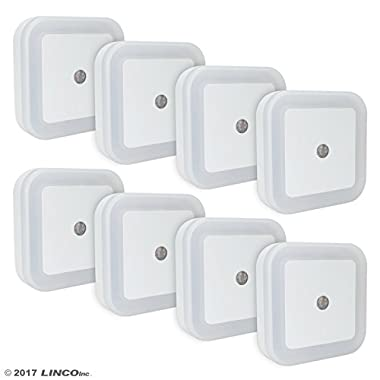 LINCO LED Plug Night Light Wall Lamp With Dusk to Smart Sensor, Pack of 8 T001 (8S)
