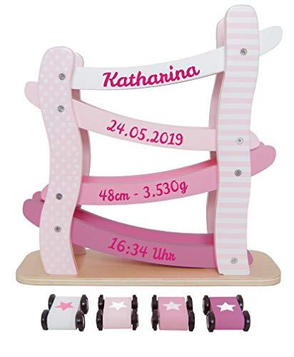 Elefantasie Autobahn aus Holz mit Namen und Geburtsdaten personalisiert rosa