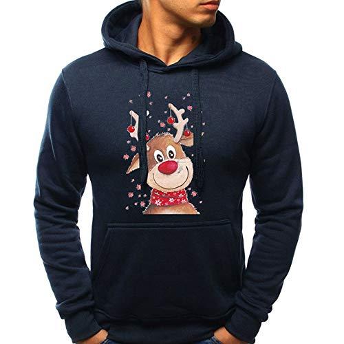 OverDose Damen Pullover Bluse Herren Langarm Weihnachten Partei Bar Cosplay Schlank Charming Casual Sweatshirt Hoodies Trainingsanzüge Für Herbst Winter(Marine,48 DE/XL CN )