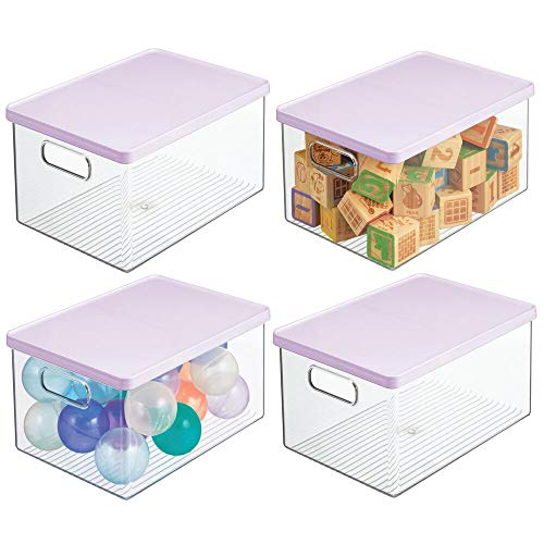 mDesign Stackable Plastic Storage Toy Bin Box with Lid - Organizer for Organizing Child/Kids Action Figures, Crayons, Markers, Blocks, Balls, Puzzles, Crafts, Dog/Cat Toys, 4 Pack - Clear/Purple