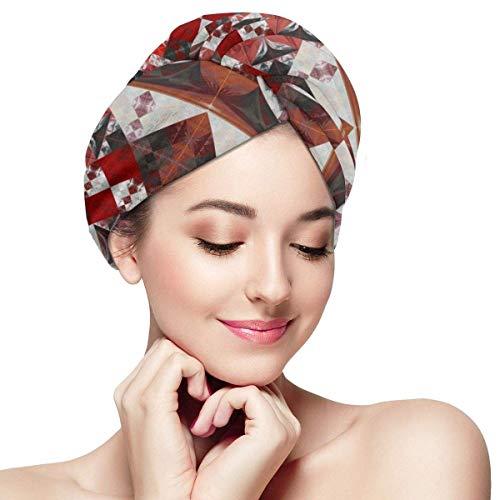 Florasun Bonnet de Cheveux secs Rouge et Blanc Imprimé Fleurs Serviette de Séchage en Microfibre Serviette de Cheveux Enveloppes Ultra Absorbante Séchage Rapide Turban Cheveux avec Ondulés pour Femme