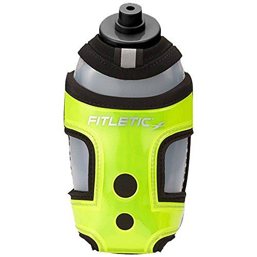 Fitletic Handheld Hydration Bottle Carrier for Jogging, Running, Racing, Walking, Rollerblading, or Hiking | HH12-06 HydraPocket Running Water Bottle Holder, Green & Black
