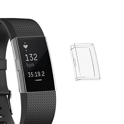 UKCOCO Proteggi Schermo per Fitbit Charge 2, Confezione da 2 Pezzi Custodia Ultra Slim Full Cover TPU Custodia AntiGraffio Cover Protettiva Accessori per Charge 2 Smartwatch (Trasparente) 商品名称