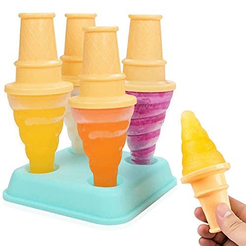 HONZUEN Ice Lolly Mould Maker, Sin BPA Reutilizable Popsicle Molde Maker con Tapa, Bricolaje Molde para Paletas Helados de Grado Alimenticio para Niños Adultos