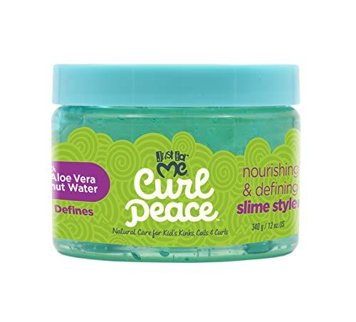 Just For Me Curl Peace - Peace Nutro y Define Slime Styler. Gel de pelo para niños sin peso, perfecto para lavar y usar definición de rizos o ajuste de textura. 12 oz.
