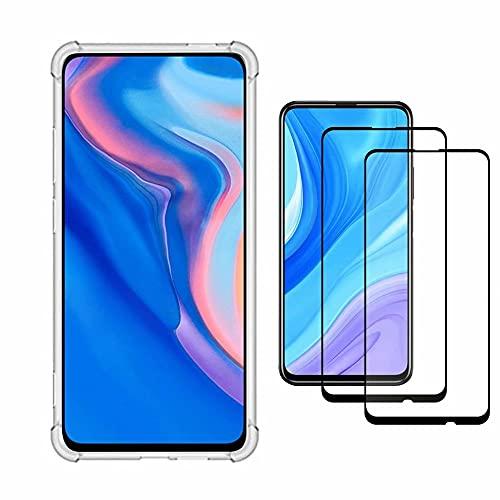 YaMiDe Funda Huawei P Smart Z, Compatible con Huawei Y9 Prime 2019 and Honor 9X Premium and Honor9X, con Dos Protectores de Pantalla, parachoque colchón de Aire, Funda de TPU Suave y Transpare