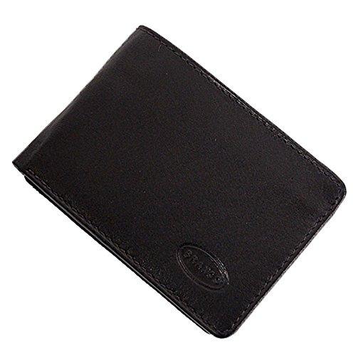 GoBago Branco kleine Leder Herren Geldbörse Geldbeutel Portemonnaie Minibörse 10x7x1cm (Schwarz)