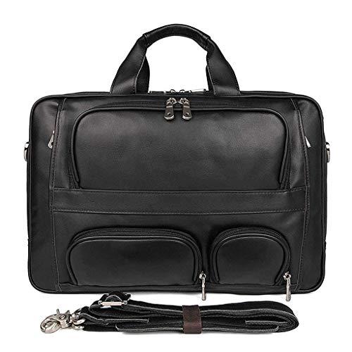 XYZMDJ zwart lederen zakje, stijlvolle unieke laptoptas, geschikt voor laptop business reizen