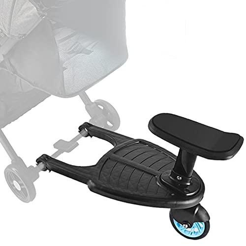 Buggy Board - Tabla de cochecito con asiento, accesorio para cochecito para niños menores de 3 a 7 años (25 kg), con un conector auxiliar para el asiento del pedal del cochecito (azul)