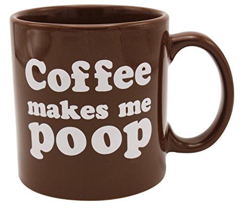 Island Dogs Makes Me Poop Coffee Mug, 1 Count (Pack of 1), Brown