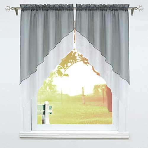 Cortina de ventana con cordón, 2 unidades, para cocina, 120