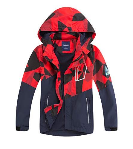 LAUSONS Kinder Gefütterte Regenjacke Jungen Camouflage Wasserdicht Jacke Leichte Übergangsjacke mit Abziehbar Kapuze Rot 9-10 Jahre / 140cm