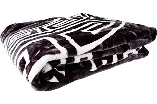 Dekonaz Wool Deken sprei voor 2 Persoon Polyester Zwart Wit