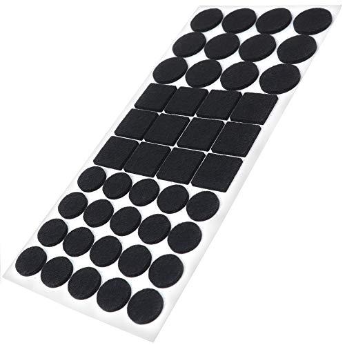 Adsamm® | 44 x Filzgleiter | Schwarz | verschiedene Größen | Ø 28 mm | Ø 20 mm | 25x25 mm | 3.5 mm starke selbstklebende Filz-Möbelgleiter in Top-Qualität
