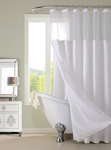 Dainty Home CSCDLWH Waffle Shower Curtain Complete Shower Curtain,White