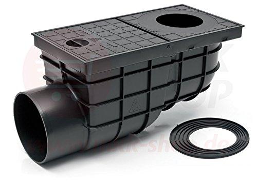 Waagerechter Regensinkkasten schwarz Ø 110 mm - 171 mm Einbautiefe Rückstauklappe Rückstauverschluß Geruchsklappe Regenrohrablauf Dachrinnenablauf Sieb
