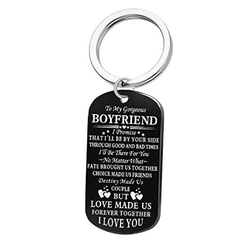 Amody Schlüsselanhänger aus Edelstahl Hundemarke Gravur to My Boyfriend Schwarz Schlüsselbund für Frauen Männer Paarschmuck, für Freund Freundin