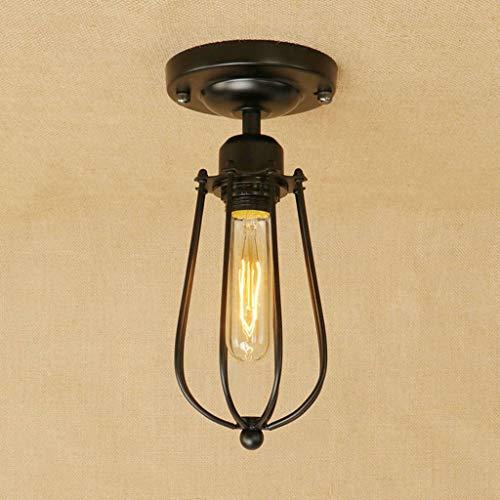 Plafondlamp van industrieel gelakt ijzer, met zwarte kooi, fitting E27, 110-240 V, zonder lamp (kleur B)