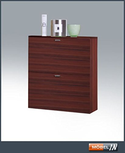 HMW-Möbel Elegance Schuhschrank Glanz Schuhkommode Garderobenschrank Regal Nussbaum NEU!