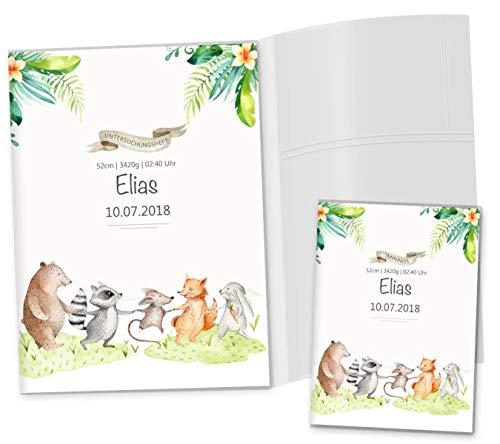 U-Heft Hülle 3-teilig Set Tierfreunde Untersuchungsheft Hülle inkl. Impfpasshülle personalisierbar mit Namen und Geburtsdatum (U-Heft Hüllen Set 3-teilig personalisiert, Freunde)