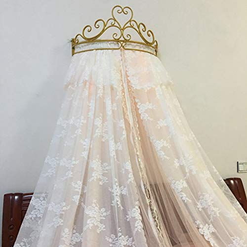 Great Deal! GE&YOBBY Lace Bed Canopy,Crown Princess Bed Curtain Court Mosquito Net with Decorative D...