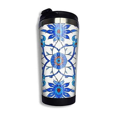 Jugendstil-Fliese, Blau und Weiß, Kaffeebecher mit LidforTeaCoffee, tragbar, Edelstahl, 400 ml