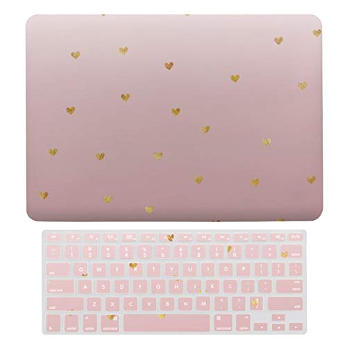 Plastic Hard Shell Case & Keyboard Cover Compatible with MacBook New Pro 13 Touch (Models: A1706、A1989、 A2159), Gold Blush Pink Ombre Hearts Laptop Keyboard Membrane Protective Shell Set