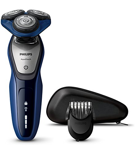 Philips AquaTouch S5600/41 Rasoio Elettrico AquaTec Wet & Dry con Lame MultiPrecision,Testina Flex 5 Direzioni e Sistema di Protezione della Pelle + Regolabarba, Impermeabile con Custodia da Viaggio