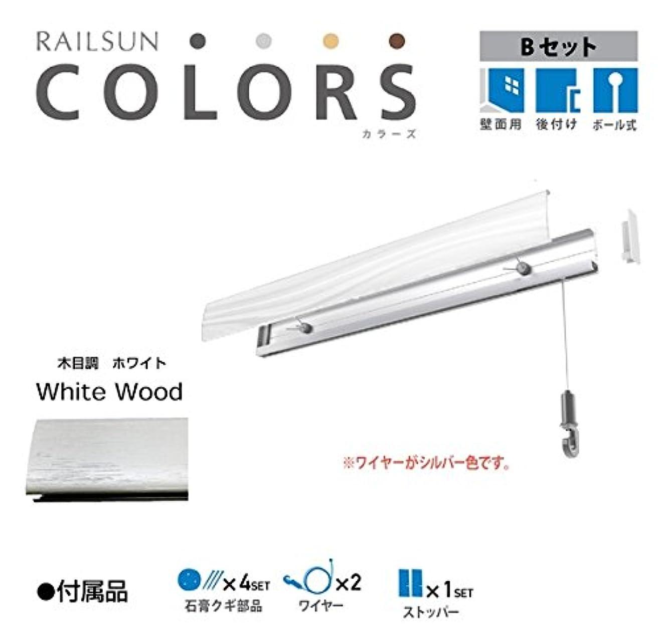 ソーセージマトロン十分ピクチャーレール 石膏ボード用 RAILSUN COLORS 木目調ホワイト Bset 100cm(RC100B-1)