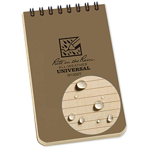 Rite in the Rain Universal Pocket Top Spiralen-Notizbuch – Grün/Grün, 7,6 x 12,7 cm, Pocket Notebook, Tan/Tan