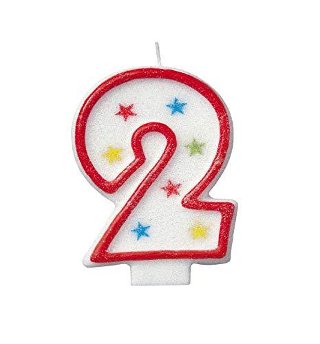 Unique Party - Vela de Cumpleaños Número 2 Reluciente y Decoración de Pastel de Feliz Cumpleaños (37312)