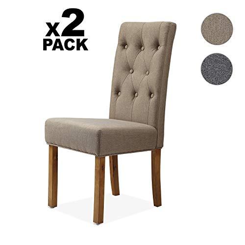 Adec - Capitone, Pack de 2 sillas de Comedor, Cocina, salón, despacho o habitación, Acabado en Tejido Color Beige Terra, Medidas: 45 cm (Ancho) x 48 cm (Fondo) x 99 cm (Alto)