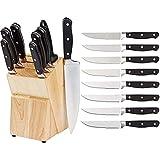 Amazon Basics Juego de cuchillos de cocina y soporte (9 piezas) + Juego de 8 cuchillos de carne