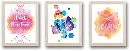 HPNIUB Framed Abstract Splash Color Art Print Set of 3 10 X8 Ready to Hang Inspirational Quotes product image