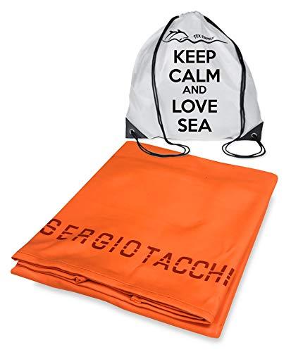 Tex family Telo Mare Morbidissima Microfibra Sergio Tacchini Tinta Unita Misura Grande cm. 80X160 e Zaino Spiaggia Keep Calm - Arancio Fluo