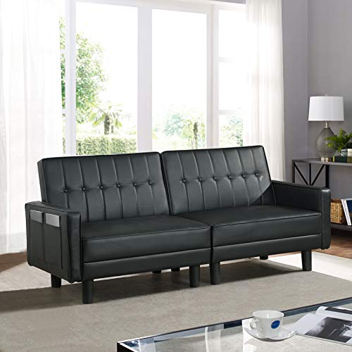 IPKIG Convertible Futon Sofa Bed- Loveseat Sofa Bed with 3 Gears Adjustable Backrest- Mid-Century Modern Tufted Faux Leather Sleeper Sofa Bed with 8 Sturdy Legs and Side Pockets (Black)