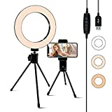 Selfie Light Ring 6.3-inch with Stand & Phone Holder,3 Light Settings Dimmable Desk LED Camera Lights for Video,Makeup,YouTube,Live Streaming