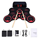 Electronic Drum Set Digital Roll Up MIDI Portable Kit 9 Silicon Waterproof Pads