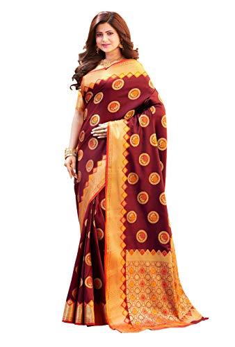 HAOK Sarees For Women's Banarasi Art Silk Woven Sari | Regalo indio de boda étnica ropa | Sari y blusa no cosida…