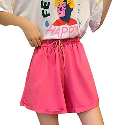 Pantalones Cortos de Cintura elástica de Color sólido para Mujer, Pantalones Cortos Deportivos Informales Holgados de Cintura Alta a la Moda L