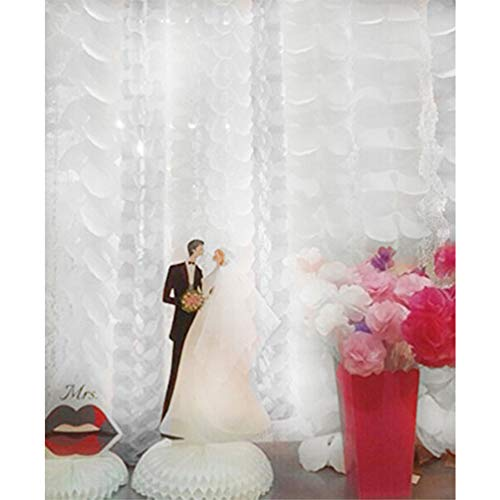 Life Glow Hanging Garland Four-Leaf Tissue Paper Flower Garland Reusable Party Streamers for Party Wedding Decorations, 11.81 Feet/3.6M Each, Pack of 6-White
